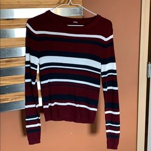 H&M maroon striped crop sweater